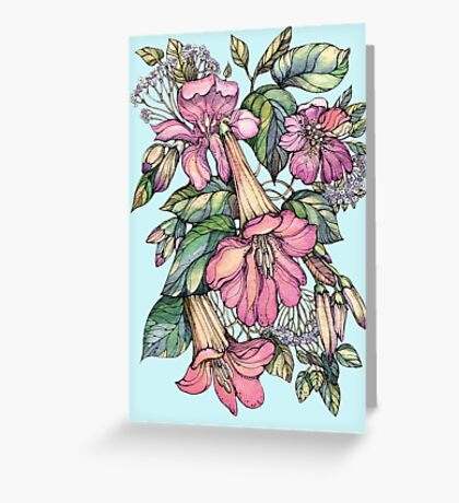 Red Trumpet Vine flowers on blue Greeting Card