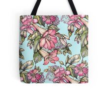 Red Trumpet Vine flowers on blue Tote Bag