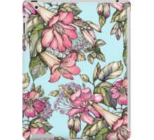 Red Trumpet Vine flowers on blue iPad Case/Skin