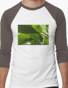 Luscious Tropical Greens - Huge Leaves Patterns - Horizontal View Downwards Left Men's Baseball ¾ T-Shirt