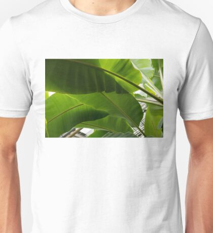 Luscious Tropical Greens - Huge Leaves Patterns - Horizontal View Downwards Left Unisex T-Shirt