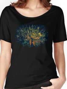 Peacock Feather Illustration Graphic Design Bird Wildlife Women's Relaxed Fit T-Shirt