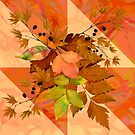 Autumn Leaves on Marbled Shapes by Dana Roper