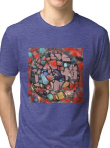 Abstract of Blue Willow China Pattern Tri-blend T-Shirt