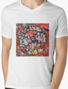 Abstract of Blue Willow China Pattern Mens V-Neck T-Shirt