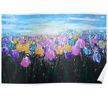Tulips at Sunrise Poster