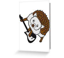 elektro gitarre spielen party musik hard rock heavy metal comic cartoon süßer kleiner niedlicher igel  Greeting Card
