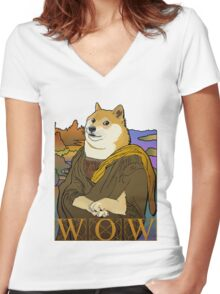 Mona Doge Women's Fitted V-Neck T-Shirt