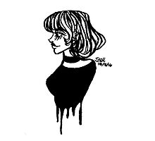 Dripping Sketch Girl Photographic Print