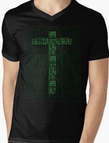 Binary Code Cross Mens V-Neck T-Shirt