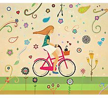 Bicycle Ride - Girl - Cat Photographic Print