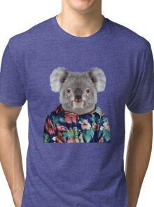 Cute Koala in a Hawaiian Shirt  Tri-blend T-Shirt