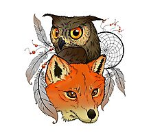 The owl and the fox Photographic Print