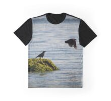 Corvus Brachyrhynchos - American Crow Taking Off A Rock Covered With Algae | East Marion, New York Graphic T-Shirt