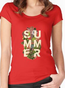 Summer Vibes Neon Palm Trees Art  Women's Fitted Scoop T-Shirt