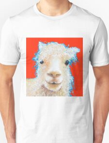 Alpaca painting on red background Unisex T-Shirt