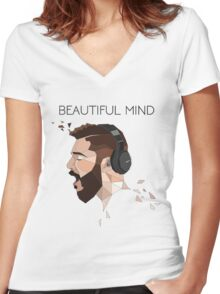 jon bellion Women's Fitted V-Neck T-Shirt