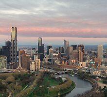 Aerial view of Melbourne, Australia at dawn by Nils Versemann
