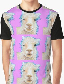 Alpaca painting on violet background Graphic T-Shirt