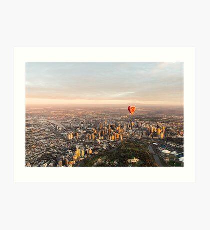 Hot air balloon over Melbourne, Australia Art Print