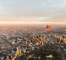 Hot air balloon over Melbourne, Australia by Nils Versemann