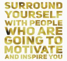 Surround Yourself Inspirational Quote Dark Gold Kids Tee