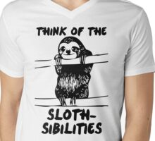 Think Of The Sloth-sibilities Mens V-Neck T-Shirt