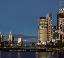 Crown Casino with full moon by Nils Versemann