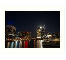 Full moon above Crown Casino, Melbourne Art Print