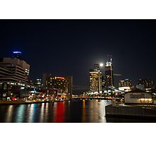 Full moon above Crown Casino, Melbourne Photographic Print