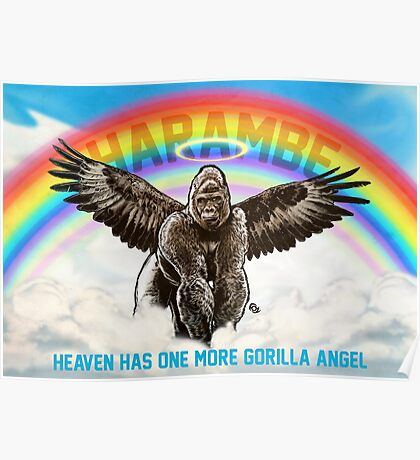 Harambe - Heaven has another Gorilla Angel Poster