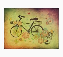 Bicycle and Floral Ornament Grunge Kids Tee