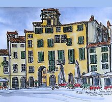 Piazza Anfiteatro Lucca 2015 pen and wash by Elizabeth Moore Golding