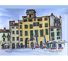 Piazza Anfiteatro Lucca 2015 pen and wash Photographic Print