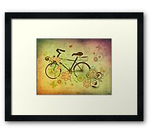 Bicycle and Floral Ornament Grunge Framed Print
