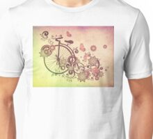 Bicycle and Floral Ornament Grunge 2 Unisex T-Shirt