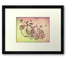 Bicycle and Floral Ornament Grunge 2 Framed Print