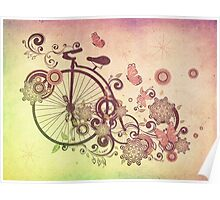 Bicycle and Floral Ornament Grunge 2 Poster