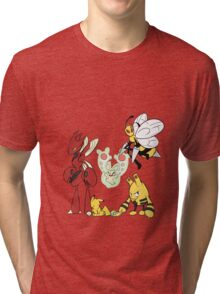 Pokemon team - Scizor, Reuniclus, Beedrill, Pikachu, Elekid, Dunsparce Tri-blend T-Shirt