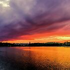 Colorful Sunset in Boston, Ma by LudaNayvelt