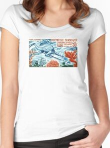 1965 French Polynesia Spearfishing Postage Stamp Women's Fitted Scoop T-Shirt