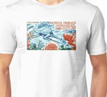1965 French Polynesia Spearfishing Postage Stamp Unisex T-Shirt