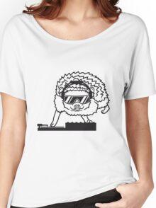 dj party mischpult disko club sonnenbrille cool kopfhörer funky auflegen musik tanzen comic cartoon süßer kleiner niedlicher igel  Women's Relaxed Fit T-Shirt