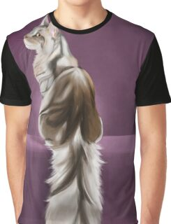 Cat and Butterfly Graphic T-Shirt