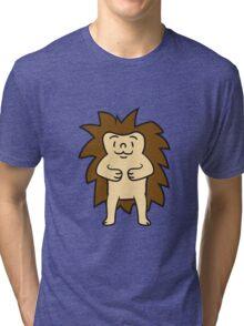comic cartoon stehender süßer kleiner niedlicher igel  Tri-blend T-Shirt