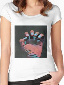 Clutching hand B/P K1 Women's Fitted Scoop T-Shirt
