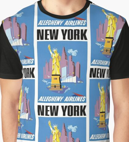 New York Vintage Travel Poster Graphic T-Shirt