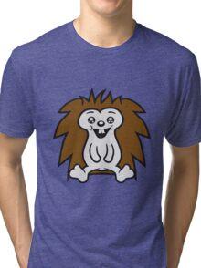 comic cartoon sitzender süßer kleiner niedlicher igel  Tri-blend T-Shirt
