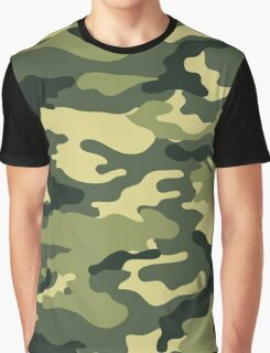 Olive Green Military Camouflage Graphic T-Shirt