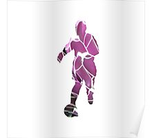 Purple Flower Footballer Poster